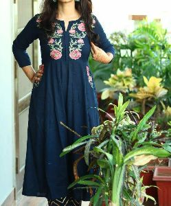 Embroidery Work Long Frok Style Kurti