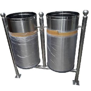 Stainless Steel Dual Floor Mounted Dustbin