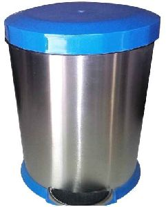 Stainless Steel Plain Blue Plastic Lid Dustbin