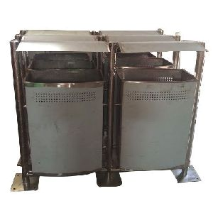 Stainless Steel Top Cover Floor Mounted Dustbin