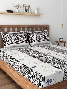 Embroidered Cotton Satin Double Bedsheet