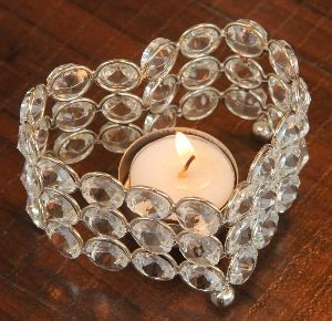 Heart Shaped Crystal Candle Holder
