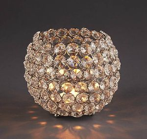 Oval Crystal Candle Holder