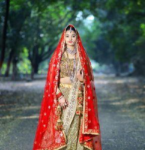 Golden Bridal Lehenga Choli Embroidery Services