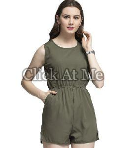 Green Half Sleeve Jumpsuit