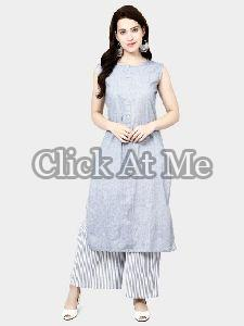Grey Colored Cotton Printed Palazzo Set