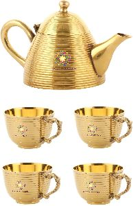 Brass Tea Kettle and Cup Set