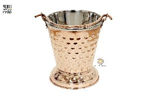 Copper Steel Hammered Serving Buckets