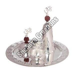 Silver Polished Brass Pooja Thali Set