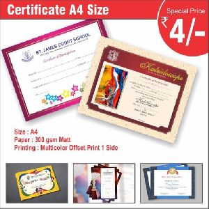 A4 Size Certificate