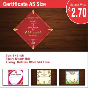 A5 Size Certificate