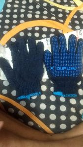 Blue Dotted Gloves