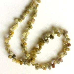 18 Inch Natural Raw Rough Loose Yellow Diamond Beads Strand Necklace