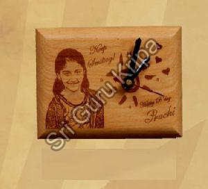 Wooden Plaque with Clock