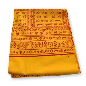 100% Pure Cotton Yellow Printed Hare Ram Hare Krishna Shawls