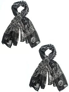 Black Ganesha Printed Scarves
