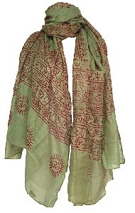 Buddha Printed Green Scarves