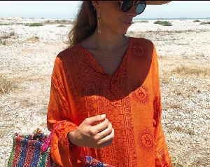 Orange Printed Kurta for Beach