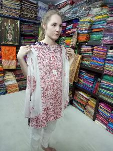 White Printed Kurta for Ladies