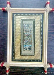Palm Leaf Painting With Golden Grass Frame