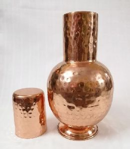 Hammered Round Copper Surahi With Glass