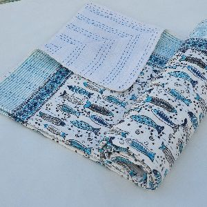 Block Printed Kantha Bed Cover