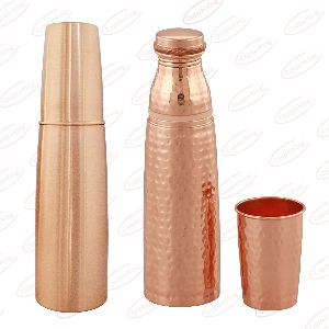 Hammered Copper Water Bottle With Glass Set