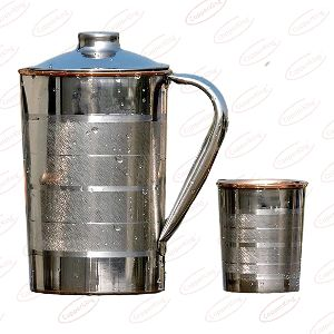 Steel Copper Glass Jug Set