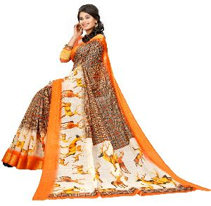 Slub Cotton Digital Printed saree with Lining pattern blouse