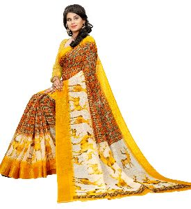 Women's Slub Cotton Digital Printed saree
