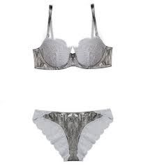 Ladies Grey Bra Panty Set