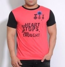 Mens Pink Round Neck T-Shirt