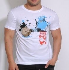 Mens White Round Neck T-Shirt