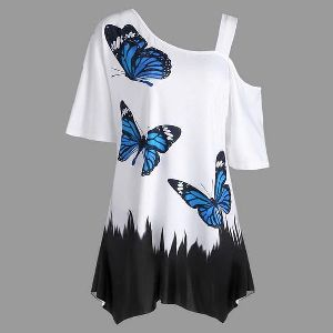Butterfly Print Off Shoulder Top
