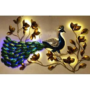 Iron LED Peacock Wall Hanging