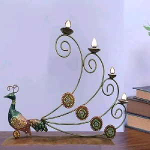 Iron Peacock Candle Stand