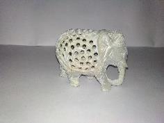Three Cut Soapstone Elephant