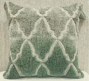 Cotton Casement Green Cushion Cover