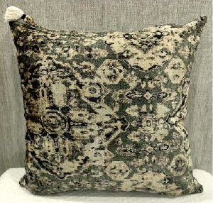 Cotton Velvet Green Cushion Cover