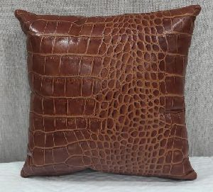 Leatherette Brown Cushion Cover