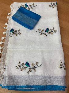 Cotton Slub Embroidery Sarees