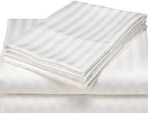 White Satin Stripe Bed Sheet