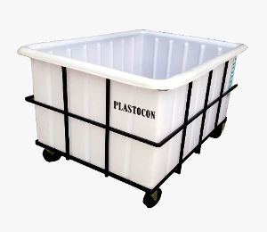 Plastic Material Handling Container with MS Trolley