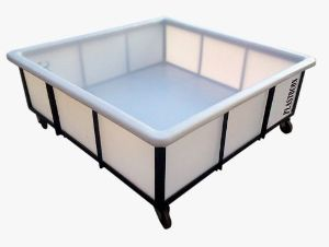 Plastic Square Trolley Container with MS Trolley