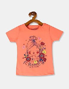 Girls Round Neck T Shirt