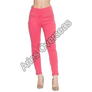 Plain Pink Jeggings