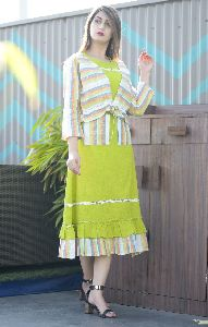 Cotton Flex Parrot Green Kurti