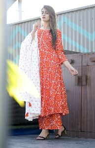 Cotton Mulmul Orange Kurti