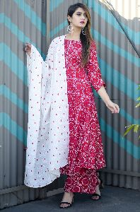 Cotton Mulmul Red Kurti