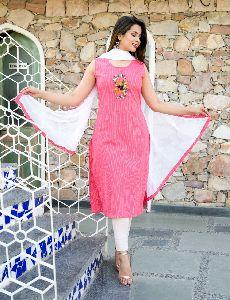 Rayon Bubblegum Pink Kurti